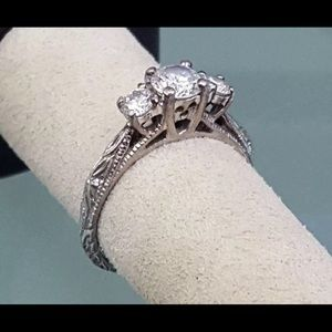 Sterling Silver 3 Stone CZ Engagement Ring 7